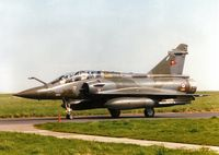 643 @ EGQS - Mirage 2000D, callsign French Air Force 7320 Alpha, of EC 02.003 taxying to the active runway at Lossiemouth in May 1997. - by Peter Nicholson