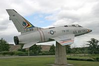 63-0319 @ EGUL - North American F-100D Super Sabre. 54-2269.  Re-serialled to 63-0319. The gate guardian at RAF Lakenheath's Brandon Gate entrance. - by Malcolm Clarke