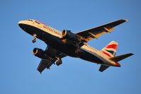 G-EUPS @ EGLL - Gear down, flaps down, nearly sun down. - by moxy