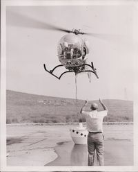 N2248W @ 98L - Scanned from archives, new fire water bucket being tried out - by Helicopterfriend