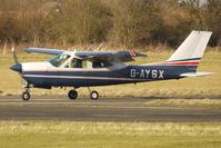G-AYSX @ EGBO - Part of a busy aviation scene at Wolverhampton (Halfpenny Green) Airport on a crisp winters day