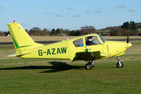 G-AZAW @ EGBO - Part of a busy aviation scene at Wolverhampton (Halfpenny Green) Airport on a crisp winters day