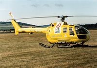 G-BATC @ EGQL - MBB Bo.105DB air ambulance operated by Bond Helicopters on display at the 1989 RAF Leuchars Airshow. - by Peter Nicholson