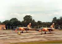 109 @ EGVA - Mirage F.1EJ 109 with companion 107, both of 1 Squadron Royal Jordanian Air Force, on the flight-line at the 1987 Intnl Air Tattoo at RAF Fairford. - by Peter Nicholson