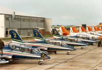 MM54484 @ EGVA - MB339A number 2 of the Frecce Tricolori display team on the flight-line at the 1987 Intnl Air Tattoo at RAF Fairford. - by Peter Nicholson