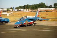 E72 @ EGVA - Patrouille de France aircraft number 8 at the 1995 Intnl Air Tattoo at RAF Fairford. - by Peter Nicholson