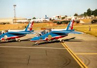E37 @ EGVA - Lead Alpha Jet  of the French Air Force's Patrouille de France display team at the 1995 Intnl Air Tattoo at RAF Fairford. - by Peter Nicholson