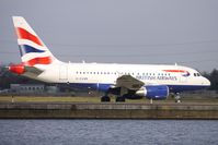 G-EUNB @ EGLC - British Airways Airbus 318 taxies out for the London City to New York BA0001 Flight