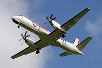 G-CDEA @ EGNT - Saab 2000 on approach to Rwy 25 at Newcastle Airport in 2007. - by Malcolm Clarke