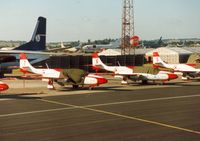 210 @ EGVA - TS-11 Iskra of the Polish Air Force display team White Iskras on the flight-line at the 1995 Intnl Air Tattoo at RAF Fairford. - by Peter Nicholson
