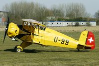 G-AXMT @ EGBR - 1938 Ag Fur Dornier-flugzeuge BUCKER BU133 - One of the many aircraft at Breighton on a fine Spring morning