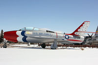 52-7019 @ CYS - F-84 gate guard for Wyoming ANG - by Duncan Kirk