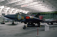 35075 @ EGSU - Saab J35A Draken at The imperial War Museum Duxford in 1986. Ex F16 wing of the Swedish AF. - by Malcolm Clarke