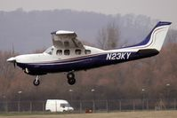 N23KY @ EGBJ - Cessna 210N about to land at Gloucestershire (Staverton) Airport
