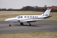 EI-DMG @ EGBJ - Cessna 441 lines up for departure from Gloucestershire (Staverton) Airport