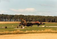 68-0011 @ EGQS - F-111E of 77th Tactical Fighter Squadron/20th Tactical Fighter Wing based at RAF Upper Heyford lined up for departure on Runway 05 at RAF Lossiemouth in September 1988.  This aircraft is now mounted on display at RAF Lakenheath with fake serial 72-448. - by Peter Nicholson