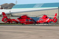 G-REDF @ EGNH - with G-REDE, Bond Helicopters - by Chris Hall