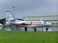 VP-CED @ EGPH - cessna 550 citation bravo ,owned by Iceland,is seen here at a wet EDI - by Mike stanners