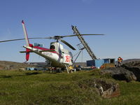 C-FFKK - Heli Explore inc helicopter waiting at the drill - by Heli Explore Inc