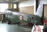 HB-RBF @ LSZR - Morane-Saulnier MS.502 Criquet (post-war french Fi 156 Storch) (fuselage only) at the Fliegermuseum Altenrhein