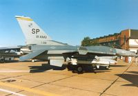 87-0281 @ MHZ - F-16C Falcon of 480th Tactical Fighter Squadron/52nd Tactical Fighter Wing at Spangdahlem on display at the 1990 RAF Mildenhall Air Fete. - by Peter Nicholson