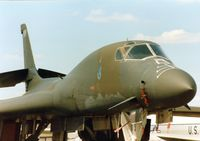86-0114 @ MHZ - B-1B Lancer named Wolfhound of the 319th Bomb Wing at Grand Forks AFB in the static park at the 1990 RAF Mildenhall Air Fete. - by Peter Nicholson