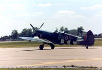 G-BJSG @ MHZ - Another view of Spitfire LF.IXe which flew at the 1990 RAF Mildenhall Air Fete. - by Peter Nicholson