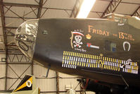 LV907 - Nose Art on Halifax Bomber , marked as LV907 , and displayed at the Yorkshire Air Museum at Elvington