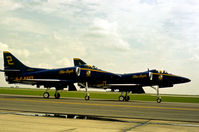 154177 @ HRL - Aircraft number 2 of the Blue Angels aerobatic display team taxying to the active runway at the 1978 Confederate Air Force's Airshow at Harlingen. - by Peter Nicholson