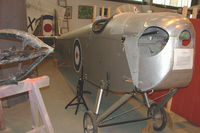 G-EBQP - 1924 DH53 Humming Bird under restoration  at De Havilland Aircraft Heritage Centre at London Colney