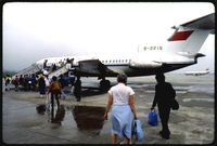 B-2215 @ ZGGG - Chinese passengers and Western tourists walk toward one of CAAC's British-built Trident jets, B-2215, in order to board a flight from Guangzhou to Guilin. Taken at Guangzhou Baiyun International Airport in May of 1986. Scanned from a Kodachrome slide. - by Alfred Holden