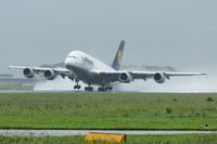 D-AIMA @ LOWL - Lufthansa Airbus A380-841 take off in LOWL/LNZ on RWY27 - by Janos Palvoelgyi