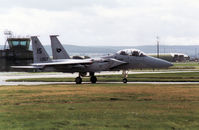 80-0057 @ EGQS - F-15D Eagle of Keflavik's 57th Fighter Squadron taxying to the active runway at RAF Lossiemouth in September 1992. - by Peter Nicholson