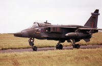 XX962 @ EGQS - Jaguar GR.1A of 6 Squadron at RAF Coltishall taxying to the active runway at RAF Lossiemouth in the Summer of 1993. - by Peter Nicholson