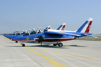 E130 @ LFMI - Nice line up of the Patrouille de France.