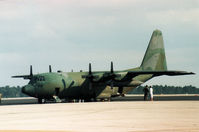63-7841 @ MCO - C-130E Hercules of 61st Tactical Airlift Squadron/314th Tactical Airlift Wing at Little Rock AFB staging through Orlando in November 1987. - by Peter Nicholson