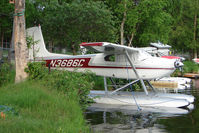 N3686C @ LHD - 1954 Cessna 180, c/n: 31185 on Lake Hood