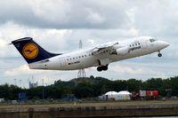 D-AVRN @ EGLC - BAe 146-RJ85 [E2293] (Lufthansa Regional) London City~G 15/06/2010. Seen departing.