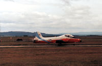 XW374 @ EGQS - Jet Provost T.5A of the Royal Air Force College Cranwell awaiting clearance to join the active runway at RAF Lossiemouth in the Summer of 1988. - by Peter Nicholson