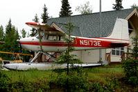 N5173E @ L85 - 1959 Cessna 180B, c/n: 50473 on the shores of Lake Mackey, Soldotna