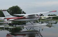 C-FRLG @ 96WI - Cessna 182G Skylane moored at AirVenture 2010. - by Kreg Anderson