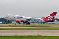 G-VLIP @ EGCC - Virgin Atlantic's 2001 Boeing BOEING 747-443, c/n: 32338 in Harry Potter colour scheme at Manchester UK
