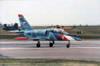 186 @ EGDM - Czech Air Force L-39CT preparing to join the active runway at the 1990 Boscombe Down Battle of Britain 50th Anniversary Airshow. - by Peter Nicholson