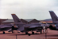 82-0968 @ EGQL - F-16A Falcon of 613rd Tactical Fighter Squadron/401st Tactical Fighter Wing at Torrejon AB on the flight-line at the 1984 RAF Leuchars Airshow. - by Peter Nicholson