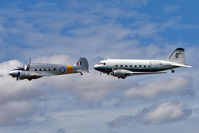 G-VROE @ EGBK - Air Atlantique's Avro Anson and Douglas Dakota in close harmony whilst displaying at the 2010 Sywell Airshow