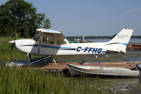 C-FFHG @ CNJ4 - Lake Country Airways Cessna 172 moored on Lake St John - by Duncan Kirk