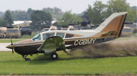 C-GBMY @ KOSH - EAA AIRVENUTRE 2010, Nose gear failed to extend fully causing aircraft to vear left of runway, aircraft stopped upright, did not appear to be any injuries.