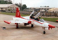 4005 @ EGVA - NF-5B Freedom Fighter, callsign Turkish Air Force 005, of the Turkish Stars display team on the flight-line at the 1997 Intnl Air Ttatoo at RAF Fairford. - by Peter Nicholson