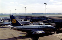 D-ABEY @ LHR - Boeing 737-130, named Worms, of Lufthansa at the terminal at Heathrow in February 1974. This aircraft was later hijacked at Fiumicino Airport, Rome on December 17, 1974. - by Peter Nicholson