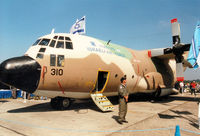310 @ EGVA - C-130E Hercules, callsign Israeli 009, of 103 Squadron Israeli Air Force on display at the 1997 Intnl Air Tattoo at RAF Fairford. The aircraft also carried civil registration 4X-FBG. - by Peter Nicholson